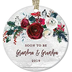 "Pregnancy Announcement Ornament, Christmas Ornament 2019, Soon To Be Grandma & Grandpa Pregnant Daughter Modern Farmhouse Ceramic Floral Keepsake 3"" Flat Circle Porcelain with Gold Ribbon & Free Box"