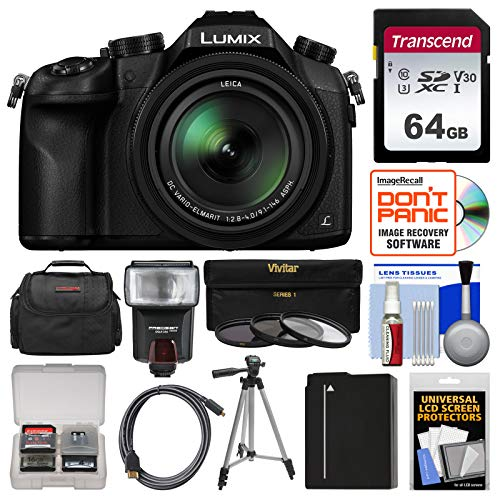 Panasonic Lumix DMC-FZ1000 4K QFHD Wi-Fi Digital Camera with 64GB Card + Case + Flash + Battery + Tripod + 3 Filters Kit