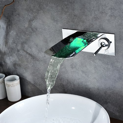 Sprinkle Chrome Color Changing LED Waterfall Wall Mount Bathroom Sink Faucet Widespread Single Handle Hole Cover Plate Vessel Sink Faucets Water Flow Powered Bath Shower Faucets Bathtub Mixer Taps (Color Changing Led Waterfall Widespread Bathroom Sink Faucet)