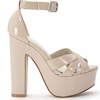 6580bd767619 Ladies Womens Nude Patent Faux Leather Ankle Strap Strappy Sandals Peep  Toes High Heels Shoes 3