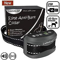 LumoLeaf - Collier anti-aboiements émettant des bips et des vibrations - Rechargeable via USB - 3 Modes d'entraînement - Convient pour toutes les races et tailles de chiens