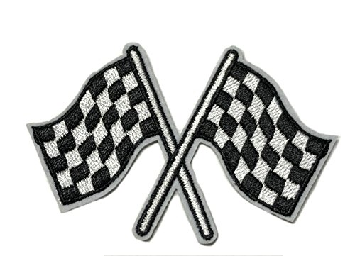 RACING FLAGS Patch NASCAR Biker Vests Motorcycle Logo Theme Brotherhood Series Embroidered Sew/Iron on Badge DIY Appliques