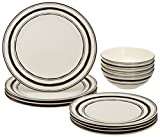 Lenox Around the Table Stripe 12 Piece Set, White For Sale