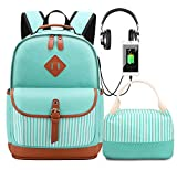 Meisohua Girls School Backpacks Set Canvas Backpack with USB Charg Port Women Laptop Bags Bookbags with Lunch Bag (Green Set)
