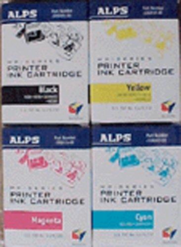 Alps 106058-00 Color and Black Ink Cartridge 4-Pack (CMYK, MD Series Printers) (Black Cartridge 00)