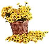 "Kinwell 100pcs Artificial Silk Yellow Sunflower Heads 1.8"" Fabric Floral For Home Decoration Wedding Decor, Bride Holding Flowers,Garden Craft Art Decor"