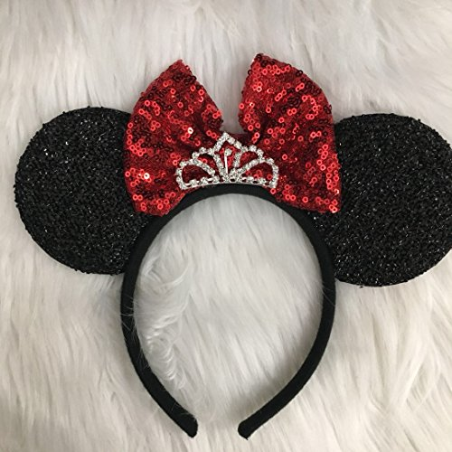 CLGIFT Red Minnie Mouse Ears Headband Shiny Black Glittery Red Bow Tiara Birthday Party/Disney Princess Ears/Disney Princess Ears/one Size fits Most ()