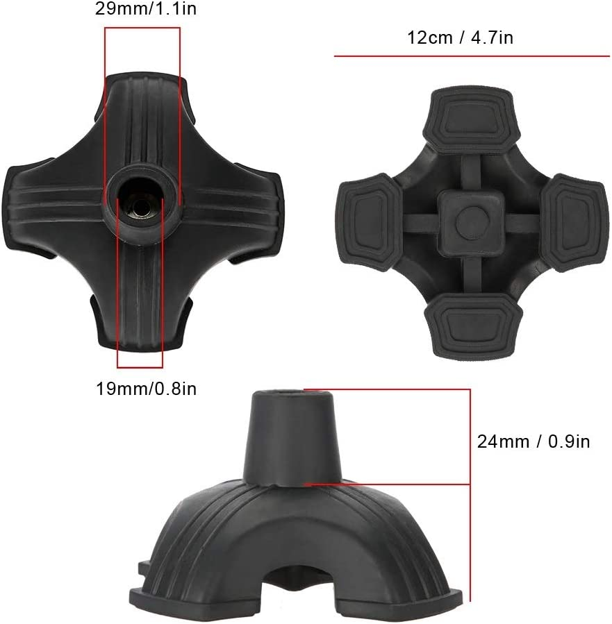 Self Standing Cane Tips with Four Base Support Anti Skid Walking Cane Pad Mat Haokaini 19MM Rubber Walking Cane Tip