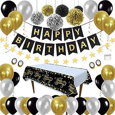 Cumpleaños Decoraciones Pack de Artículos para Fiestas - Negro Oro Globos Kit Paquetes HAPPY BIRTHDAY Pancartas Mantel Desechable para Hombre Mujer ...