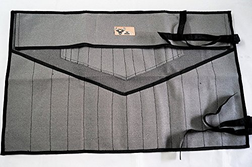 Bull Tools TB 1710 Wrench Roll 28 Pocket Dyed and Sand Washed HW 100% Dyed Cotton Canvas (Black/Grey)