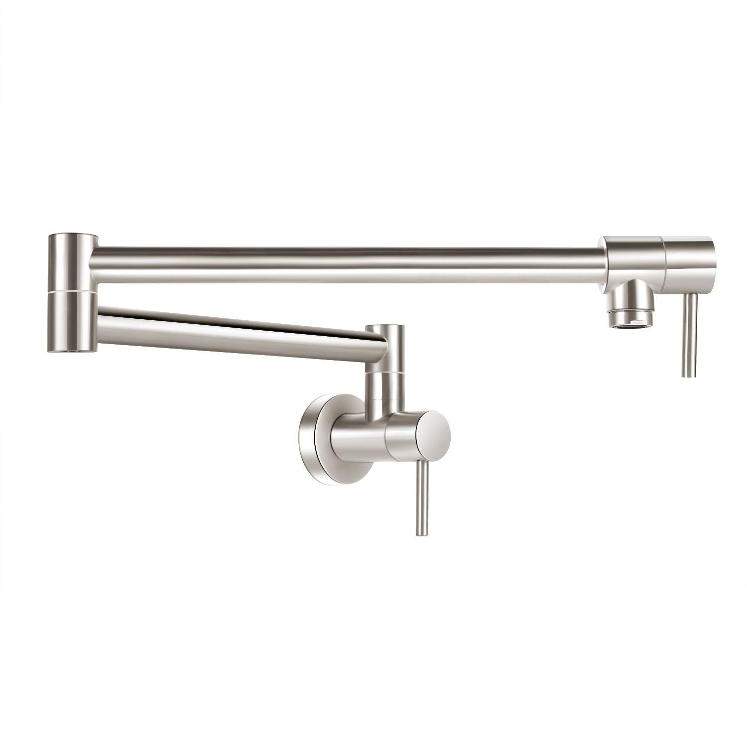 Pot Filler Faucet Stainless Steel COOLWEST Commercial Wall Mount Kitchen Faucet Folding Double Joint Swing Arm Stretchable 18 Inch 2 Handles Sink Faucet by COOLWEST