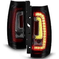 For [C-Shape LED] 07-14 Chevy Suburban Tahoe Yukon Yukon XL Black Smoked Tail Lights Rear Brake Lamps Left+Right Pair