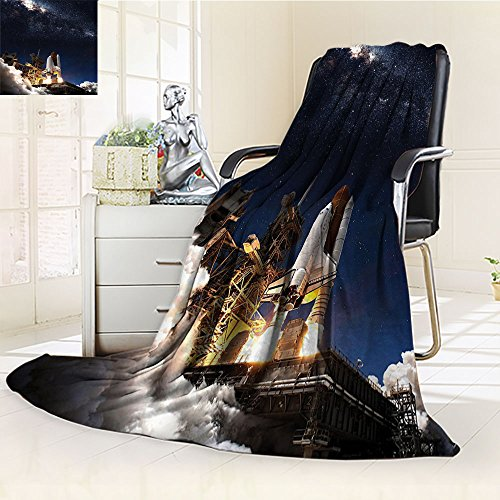 Galaxy Blanket by Nalohomeqq Space Shuttle on Take off Discovery Mission to Explore Galaxy Spaceship Solar Adventure Fabric Custom Hypoallergenic Printed Fleece Blanket Blue White by Nalahomeqq