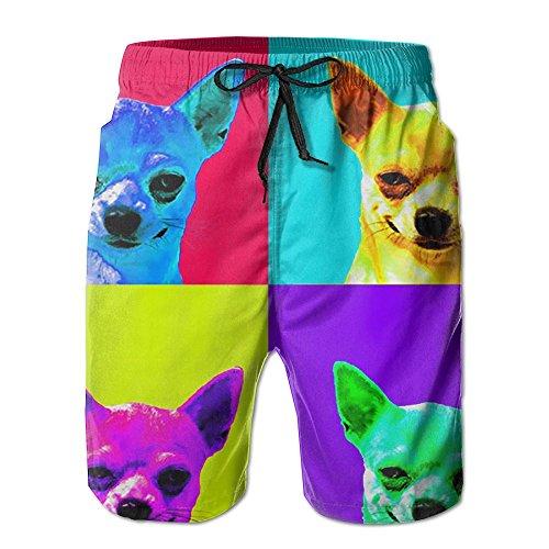Pitsa7m Men's Colorful Chihuahua Quick-Drying Summer Boardshort Swimm Surf Trunk Athletic Beach Board Shorts by Pitsa7m