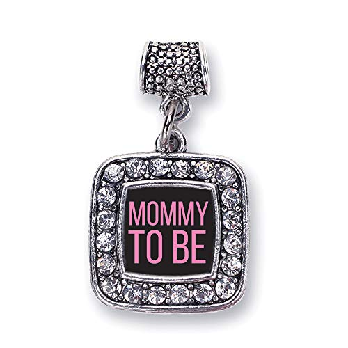 Inspired Silver - Mommy to Be Pink Memory Charm for Women - Silver Square Charm for Bracelet with Cubic Zirconia - Square Charm Pink