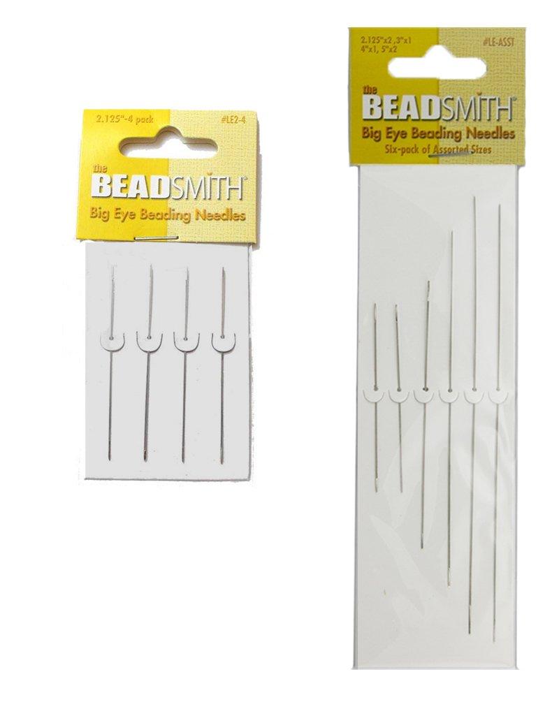 Bead Smith Big Eye Needle Set - 10 Total Large Eye Needles, Assorted Sizes - in Rigid Pak TM mailer Beadsmith BCAC17287