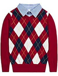 Boys Sweaters V-Neck Faux Layered Uniform Sweater Long Sleeve Pullover with Argyle Patterns for 4-12Y