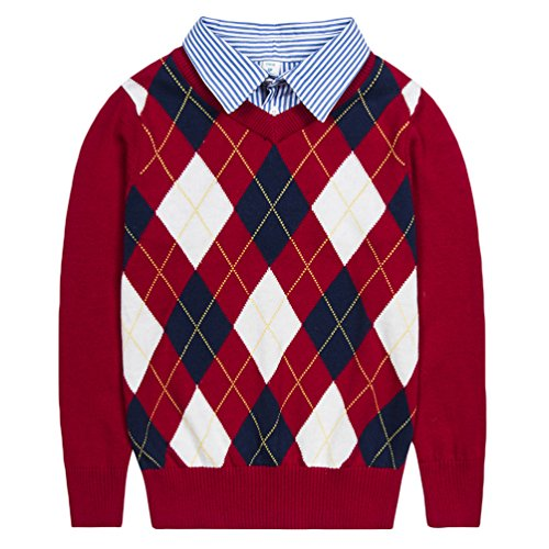 Sweater Pattern Kids (Benito & Benita Boys Sweaters V-Neck Faux Layered Uniform Sweater Long Sleeve Pullover with Argyle Patterns for 4-12Y)