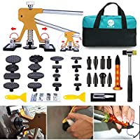 GLISTON Paintless Dent Puller - Golden Dent Puller Kit, 35pcs Dent Remover Tools with Adjustable Width Dent Repair Tools for Car, Pro Strong Viscosity Glue Sticks for DIY Auto Body Dent Repair