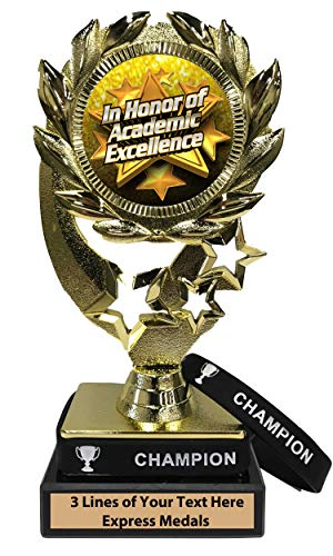 (Express Medals Academic Excellence Trophy with Removable Wearable Champion Wrist Band Marble Base and Personalized Engraved Plate)