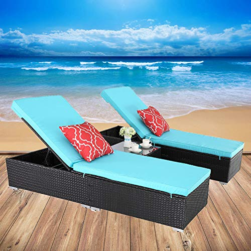 HTTH 3 Piece Rattan Wicker Adjustable Chaise Lounge Chair Outdoor Garden Patio Furniture (6666-EXP-TRQ)