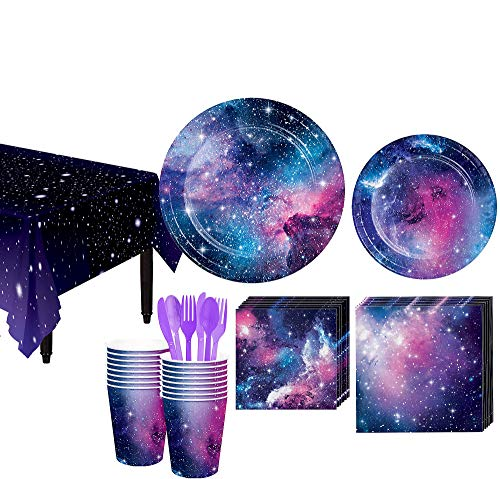 Party City Galaxy Tableware Kit and Supplies for 16 Guests, Includes Plates, Cups, and More