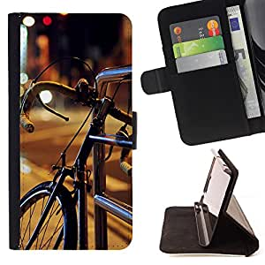 King Air - Premium PU Leather Wallet Case with Card Slots, Cash Compartment and Detachable Wrist Strap FOR Samsung Galaxy S6 G9200- Bicycle Cute Pattern