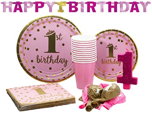 1st Birthday Girl Pack! Disposable Gold-Trimmed Paper Plates, Banner, Candle, Napkins, Balloons and Cups Set for 15 (With free extras)
