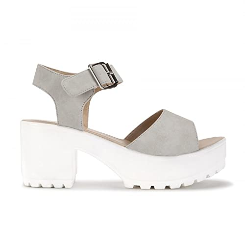 237e0ca2171e Shoe Closet Ladies Stone and White Strappy Sandals Cleated Platforms Peep  Toes High Heels UK4