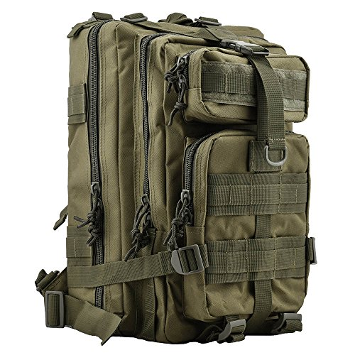 "HUKOER 17.7""x 9.9""x 9"" Tactical Rucksack – Fashionable 30L Multiple Colors Outdoor Tactical Shoulder Hiking Daypack Military Backpack Perfect for Young Camping Trekking Hunting (Army green)"