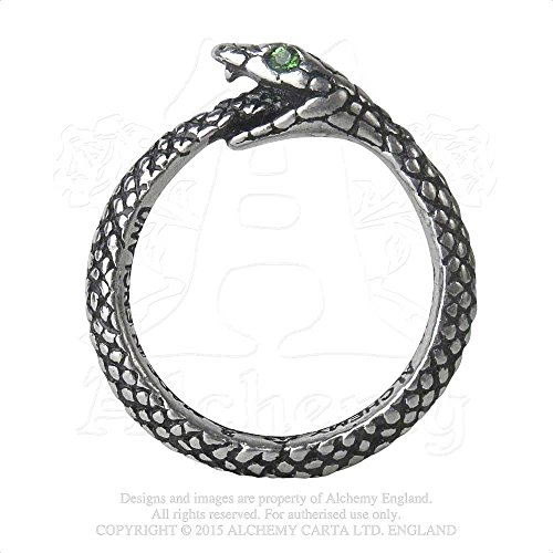 Mens Fashion Jewelry Ring Gothic Ouroboros Engraved Scales Green Swarovski Crystal Set Eyes