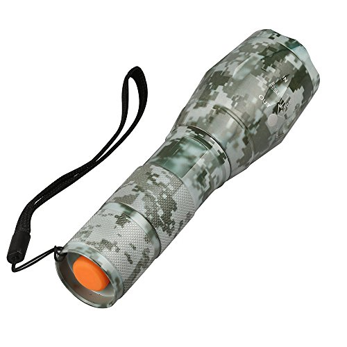 BlueFire Forest Camo Flashlight 1200LM XML-L2 Handheld LED Flashlight with Adjustable Focus and 5 Light Modes, Outdoor Water Resistant Torch, Powered Tactical Flashlight ()