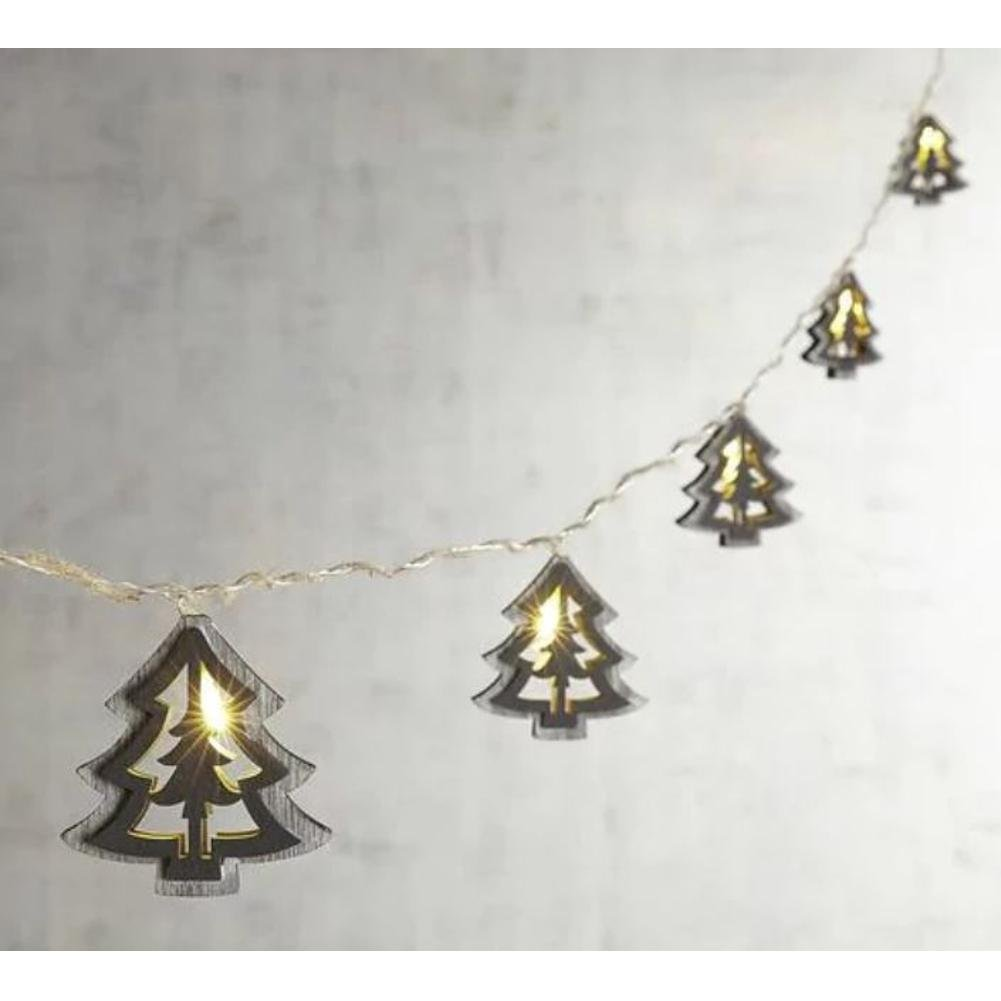 Wood Tree Silhouette Glimmer String Lights 10 ft Shapeable Battery Operated