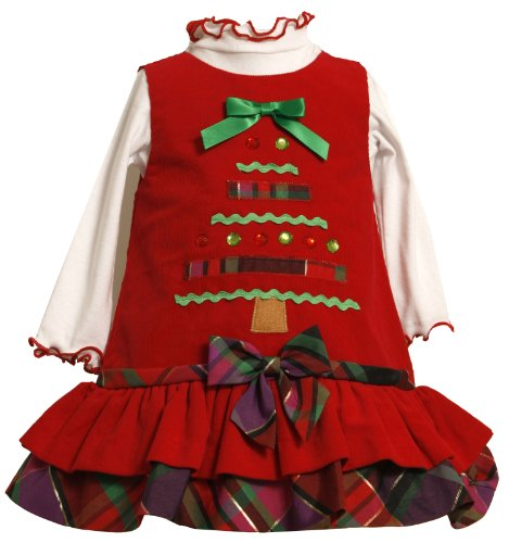 Tiered Christmas Tree Dress Set for Toddlers