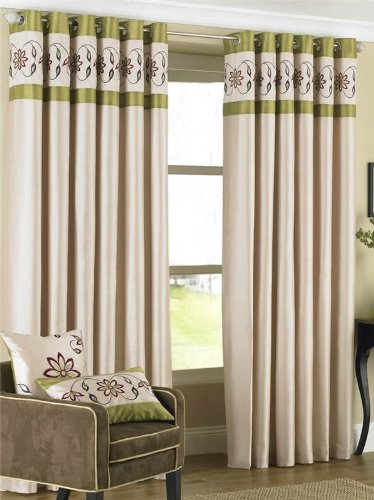 Green Curtains cream and lime green curtains : Riva Home Petra Floral Embroidered Faux Silk Eyelet Curtains ...
