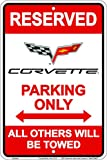 HangTime MC80084 Corvette Parking sign 8 x 12 inches red