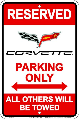 Hangtime MC80084 Corvette Parking sign 8 x12 inches red ()