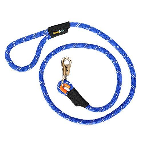 ZippyPaws Climbers Mountain Climbing Rope Dog Leash with Heavy Duty Bull-Snap (Blue, 6-Feet)