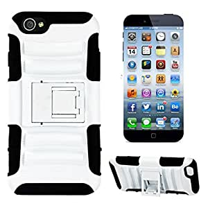 "Heavy Duty Holster Dual Layer Case Rugged Cover with Locking Belt Swivel Clip For Iphone 6 Plus 5.5""(White)"