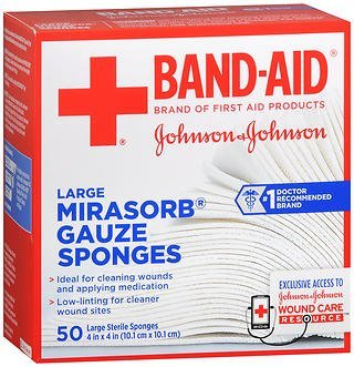 JOHNSON & JOHNSON Band-Aid Mirasorb Gauze Sponges 4 Inches X 4 Inches 50 Each (Pack of 2) by Johnson & Johnson