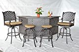 Theworldofpatio Nassau Cast Aluminum Powder Coated 5pc Outdoor Patio Set with Party Bar - Antique Bronze