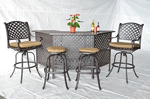 Theworldofpatio Nassau Cast Aluminum Powder Coated 5pc Outdoor Patio Set with Party Bar - Antique Bronze by theWorldofpatio