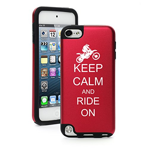 For Apple iPod Touch 5th / 6th Generation Aluminum & Silicone Hard Case Cover Keep Calm and Ride On Dirt MX Motocross Bike (Red)