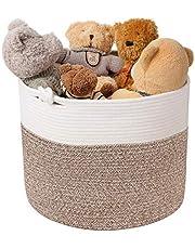Goodpick Cotton Rope Basket with Handle for Baby Laundry Basket Toy Storage Basket Blanket Storage Nursery Basket Soft Storage Bins Natural Woven Basket