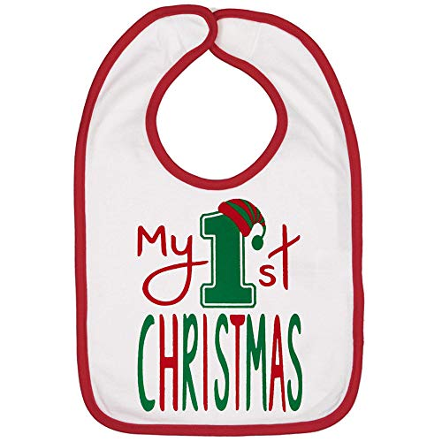 - Handmade Cute Baby Holiday Christmas Bibs - Boy Girl First Christmas Bib (My 1st White Bib)