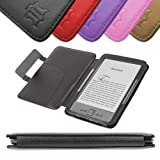 DURAGADGET Black Genuine Leather Book Style Case/Cover With Magnetic Clasp For Amazon's Kindle (Latest Generation ''4'', October 2011) + Car Charger