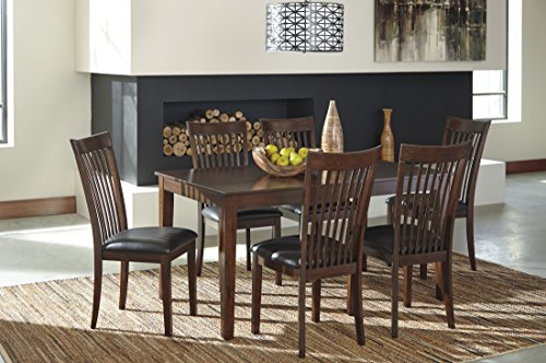 "Ashley Mallenton D411-425 7 Piece Dining Room Set with 60"" Table and 6 PU Upholstered Chairs in Dark"