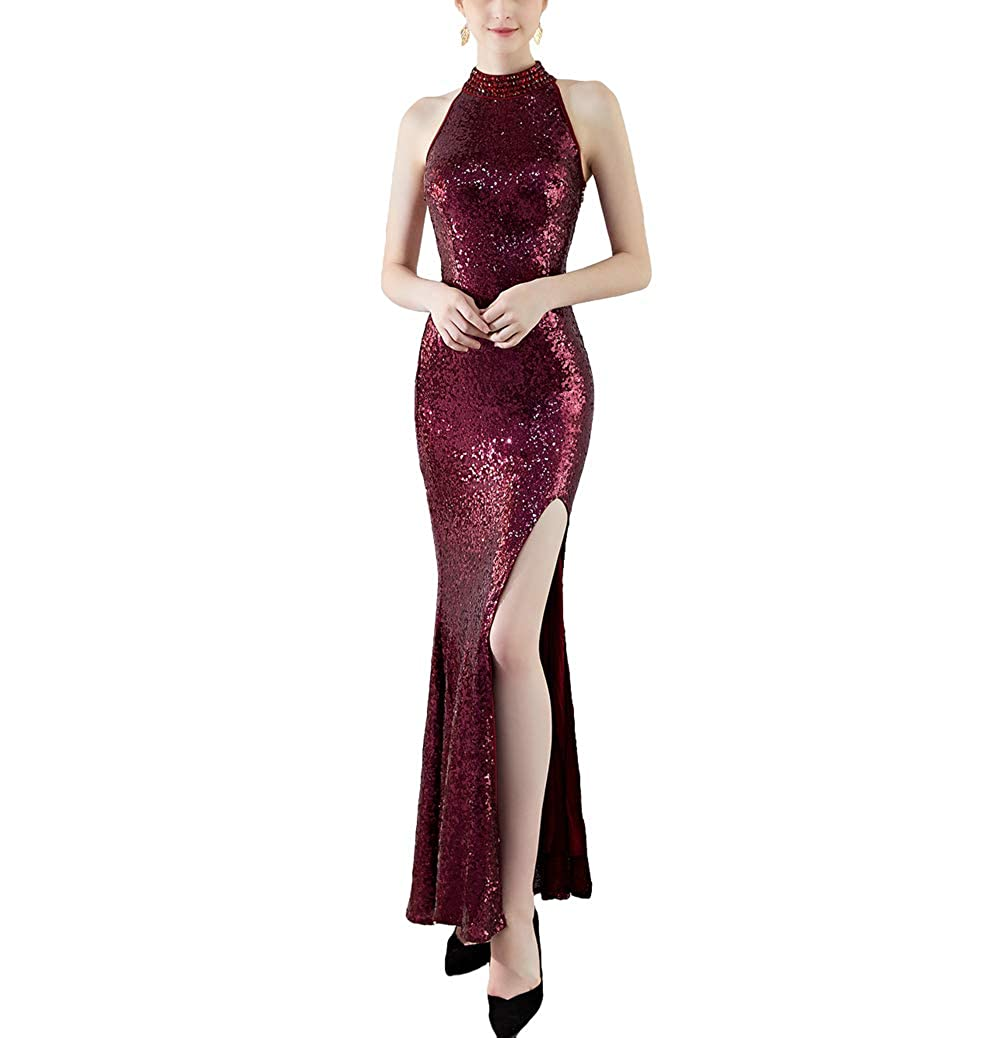 8183wine Chowsir Women Sexy Elegant Slim Sequin Cocktail Party Evening Long Dress