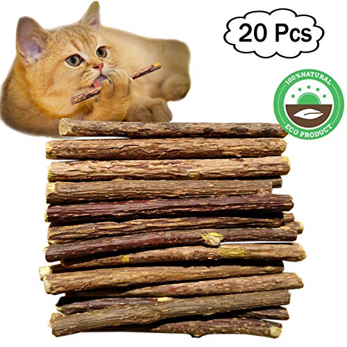 Ruri's 20 Pieces Cat Catnip Stick Natural Matatabi Chew Sticks Teeth Grinding Chew Toy, Healthy Care Organic Silver Vine Bully Sticks Kitty - Length About 4.7 inches