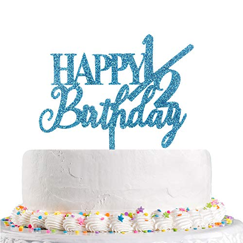 Happy 1/2 Birthday Cake Topper Half Birthday,Baby 6 Months, Frist Birthday,Baby Shower Party Decoration Supplies(Blue Glitter Acrylic)